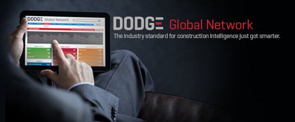 Person using Dodge Global Network on his tablet to find the newest construction projects in a region of the country